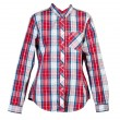 Red plaid shirt women - Stock Photo
