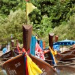 Parking Thai boats in the lagoon - Foto Stock