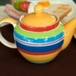 Colored striped teapot — Stock Photo