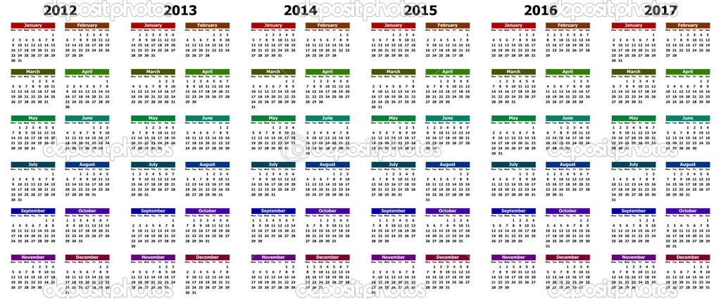 Colorful calendar for years 2012 - 2017 — Stock Photo #6767895