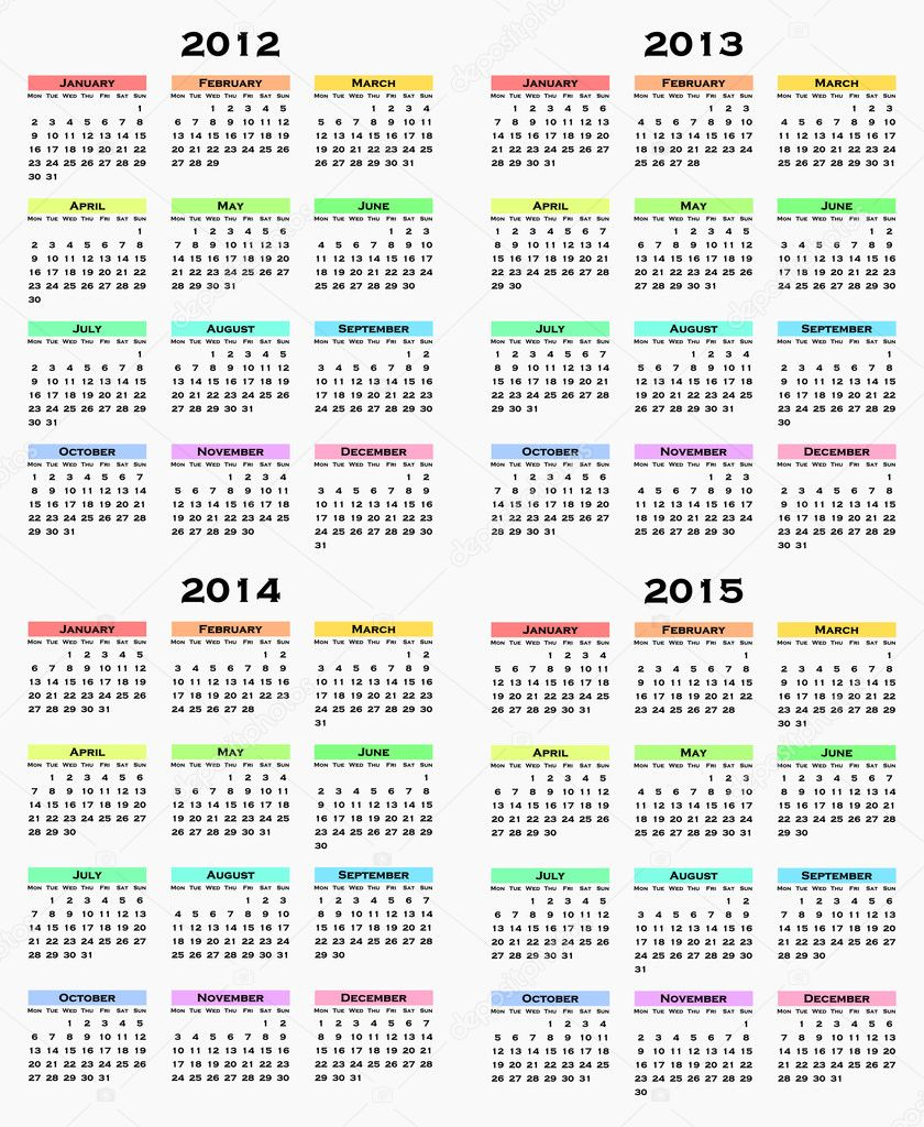 colorful calendar for years 2012 - 2015.