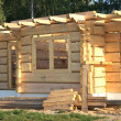 Stock Photo: Wooden home under construction