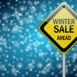 Winter sale background with snowflakes — Stock Photo