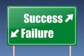 Success - failure green road sign — Stock Photo