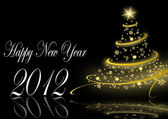 Happy new year illustration with christmas tree — Foto de Stock
