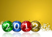 New year illustration with christmas balls — Stock Photo