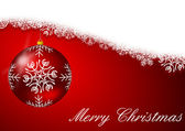 Red christmas background with snowflakes and christmas ball — Stock Photo