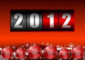 2012 year counter with christmas balls — Zdjęcie stockowe