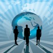 Stock Photo: Business international on blue globe illustration