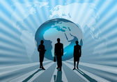 Business international on blue globe illustration — Stock Photo