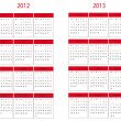 Calendar 2012 and 2013 start in Monday — Stock Photo