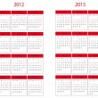 Stock Photo: Calendar 2012 and 2013 start in Monday