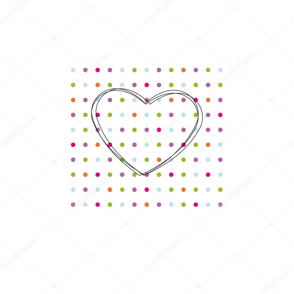 Occasion card with colorful dots and black heart  Stock Vector #7895727