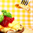 Sweet pancake with cottage cheese and cherry jam — Stock Photo
