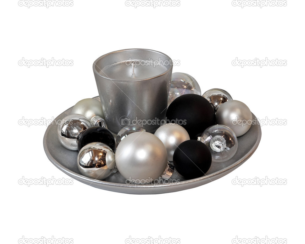 Plate with ornamental Christmas balls isolated with clipping path included — Stock Photo #6962993