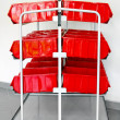 Red inventory trolley — Stock Photo