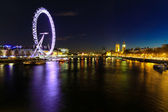 London eye night cityscape — Stock Photo
