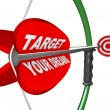 Stock Photo: Targeting Your Dreams Bow Arrow Bulls-Eye Target