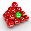 Happy Smile Face in Ball Pyramid of Sad Faces - Stock Photo