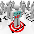 Team Player Targeted in Organizational Org Chart Teamwork — Stock Photo
