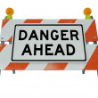 Danger Ahead Words on Construction Barricade Barrier — Stock Photo