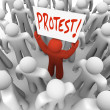 Demonstration Man Holds Protest Sign Movement for Change - Stock Photo