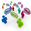 Diverse Saying Hello Greeting in Speech Bubbles - Stok fotoraf