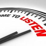 tempo per ascoltare parole orologio - ascoltare e comprendere — Foto Stock