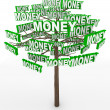Money Growing on Trees Word on Tree Branches — Stock Photo