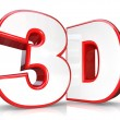 3D Red Letter and Number Three Dimensional Viewing — Stock Photo