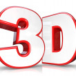 3D Red Letter and Number Three Dimensional Viewing - Stock Photo