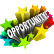 Opportunity Word in Starburst - Exciting New Changes — Stock Photo #7653474