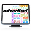 Advertise Marketing Words on HDTV Television — Zdjęcie stockowe