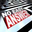 No Easy Answer Words in 3D Maze Problem to Solve Overcome — Stock Photo