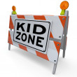Kid Zone Barricade Sign for Park Playground or School - Stock Photo