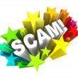 ストック写真: Scam 3D Word Swindle Con Game to Cheat You Out of Money
