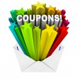 Coupons in Envelope Save When You Buy and Pay Less — Stock Photo