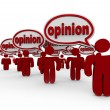Foto Stock: Many Sharing Opinions Critics Talking Word Opinion