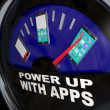 Fuel Gauge Apps Smart Phone Full of Applications - Stock Photo