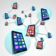 Stock Photo: Smart Phones in Communication Linked Network Spheres