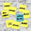 Office Politics Scandal Rumors Lies Gossip - Sticky Notes — Stock Photo