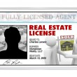 Laminated Card - Real Estate License for Agent Professional - Stock Photo