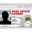 Stock Photo: Laminated Card - Real Estate License for Agent Professional