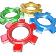 Royalty-Free Stock Photo: Four Colorful Gears Turning Together in Unison - Teamwork Synerg