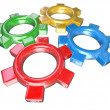 Four Colorful Gears Turning Together in Unison - Teamwork Synerg — Stock Photo #7653770