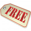 Free Price Tag - Complimentary Discounted Merchandise Sale — Stock Photo