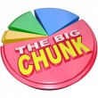 The Big Chunk - Largest Portion of Pie Chart Share - Stock Photo