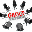 Group Session Meeting Chairs in Circle for Discussion — Stock Photo