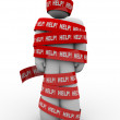 Help Person Wrapped in Red Tape Needs Rescue — Stock Photo