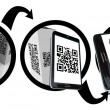 Scanning Product Box QR Code with Smart Phone - Stock Photo